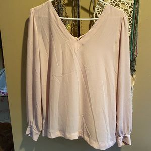 LOFT pink blouse w/ back bow accent